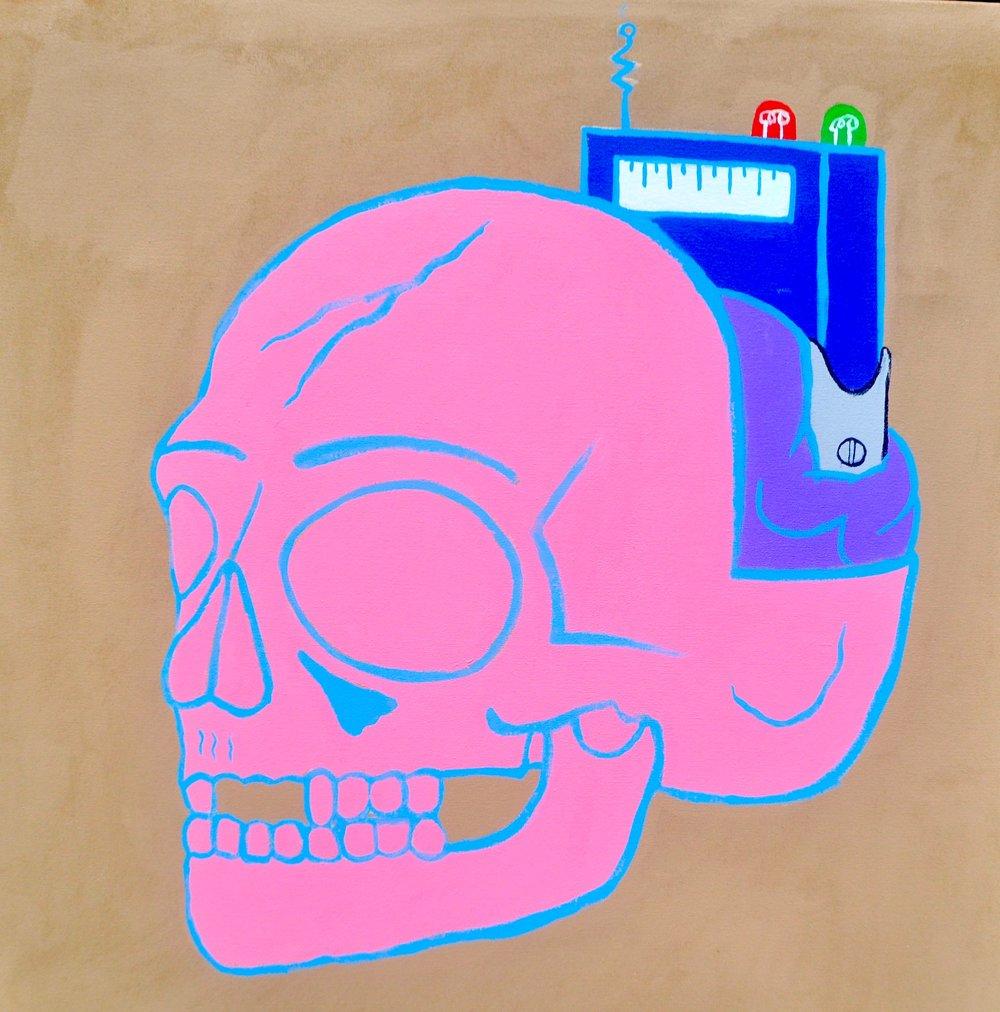 Pink Skull Implant $675 - ACRYLIC ON CANVAS32X32