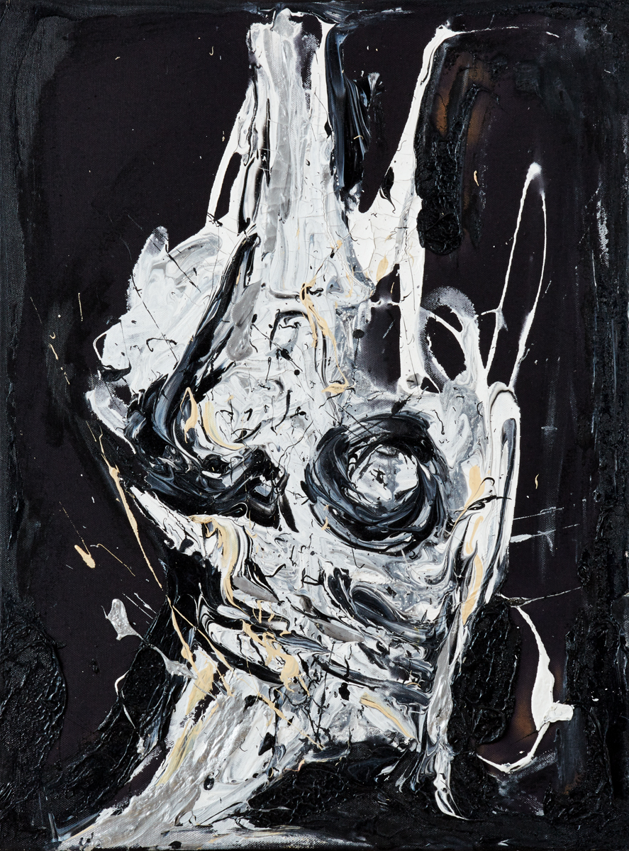 Back to Black $850 - ACRYLIC, OIL & LATEX ON RAW BLACK CANVAS24X14
