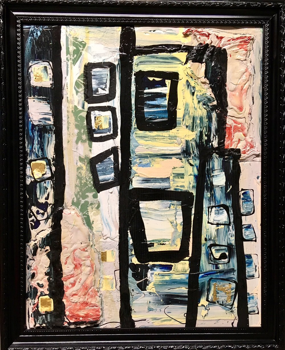 Untitled $1,025 - ACRYLIC, OIL, LATEX & WALLPAPER OF FRAMED BOARD32x25