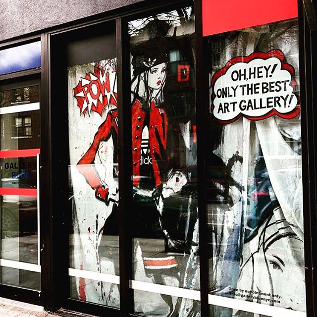 • POW💥👀 Oh, hey! Only the best Art Gallery in NYC right here in the heart of Bushwick!! @ 321 Starr Street ⭐️ OPEN Sat/ Sun 1-6pm 🌇🌃 Weeknights by appointment only 🕶 • • • Fresh new window 🖤❤️by @josiblue inspired by @adidasoriginals @adidasnyc @idgydean @kingdmc @roylichtenstein & freestyle creative LOVE!! • • • #galleryblue #gallerybluenyc #321starr #artstarr #bushwick #artistrungallery #independentartist #josanablue #artist #painter #designer #curator #gallerist #fashionart #installation #adidas #fresh #style #inspiration #windowdisplay #windowdesign #artgallery #freestyle #creative #love #art #music #community #collaboration #collection