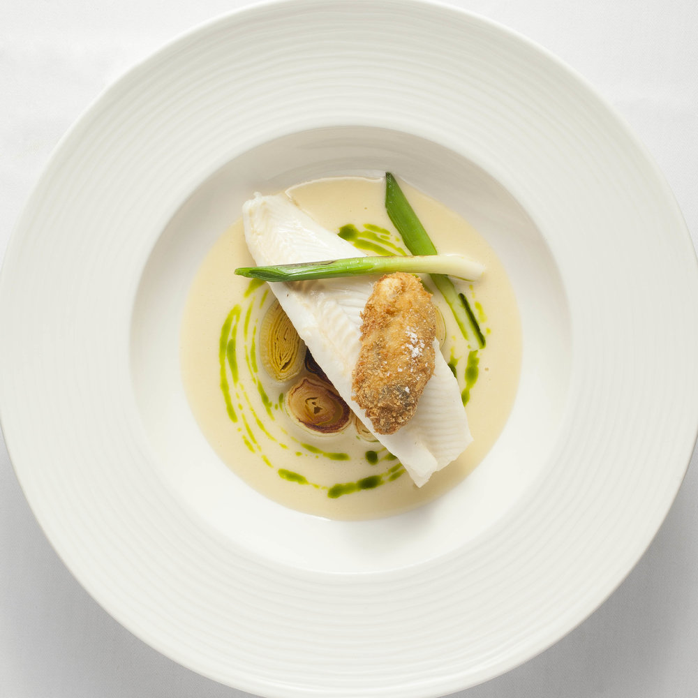Lemon Sole, Oyster, Smoked Leeks & Tarragon