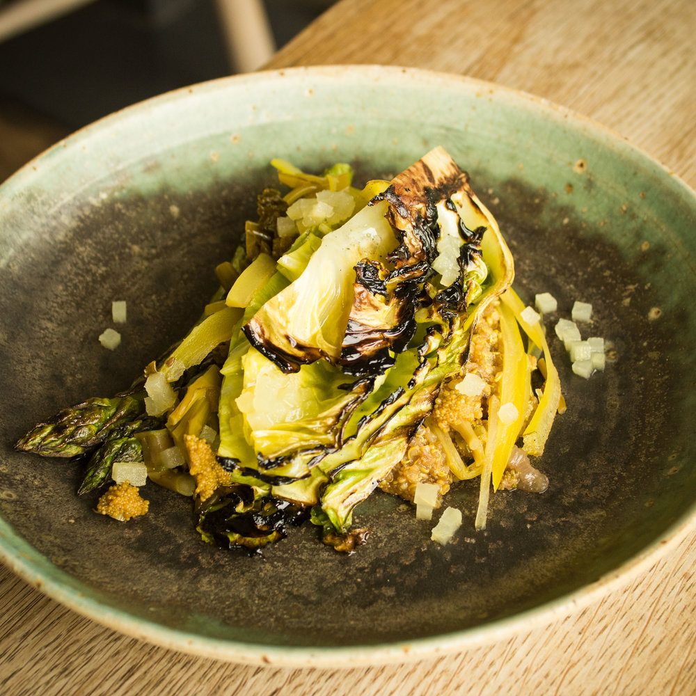 British Quinoa, Wye Valley asparagus, hispi cabbage and pickled romanesco with a turmeric and white sprouting broccoli kimchi
