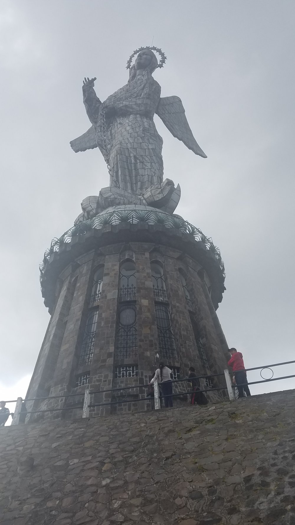 The Virgen del Panecillo stands watch over Quito, Ecuador.