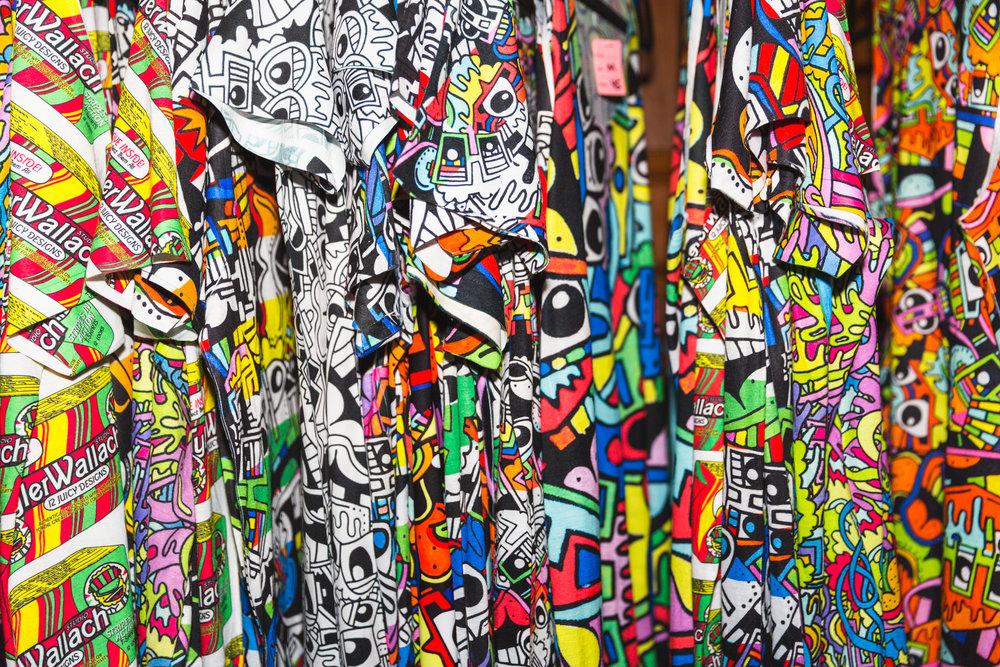 Tyler Wallach Pop-Up Shop. T-Shirt designs by Tyler Wallach. Photo by Travis Emery Hackett.