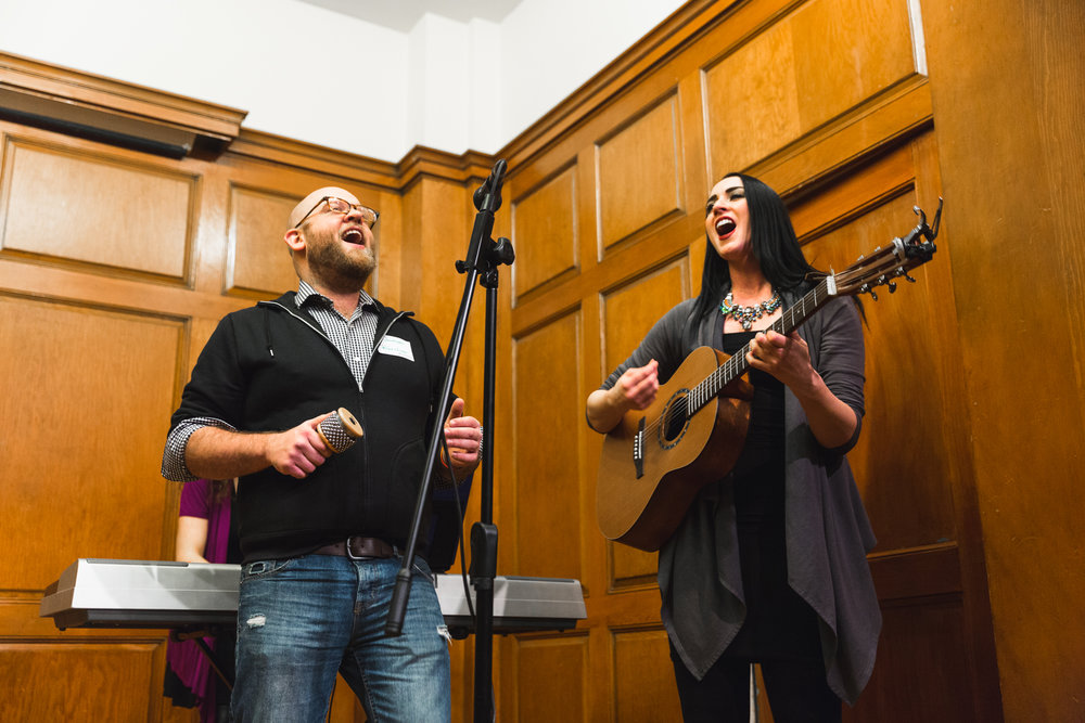 Jonathan Eric Foster and Juliana Wheeler of Thicket & Thistle performing at Moon Jam - January 2018. Photo by Travis Emery Hackett.