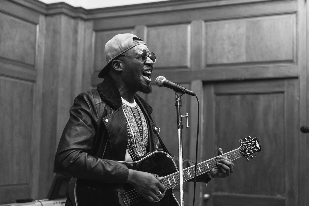 The soulful Husain 'Mello Deas' Williams performing at Moon Jam - January 2018. Photo by Travis Emery Hackett.