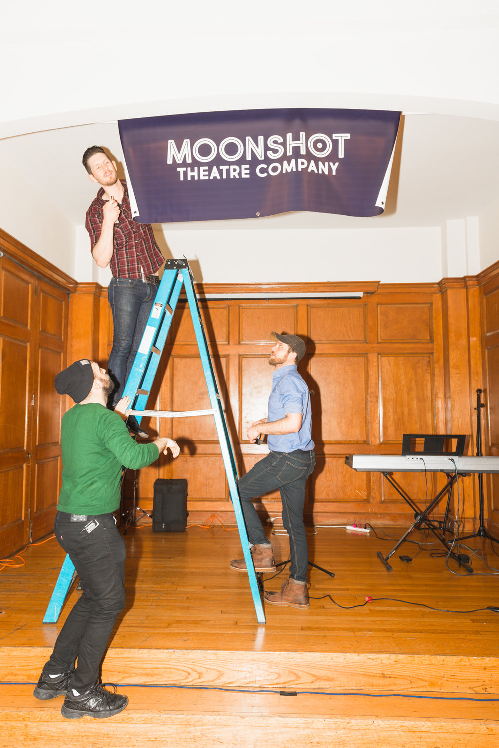 The unveiling of the new Moonshot banner. Special thanks to Chris Cornwell, Titus Tompkins and Sam de Roest for braving the ladder.
