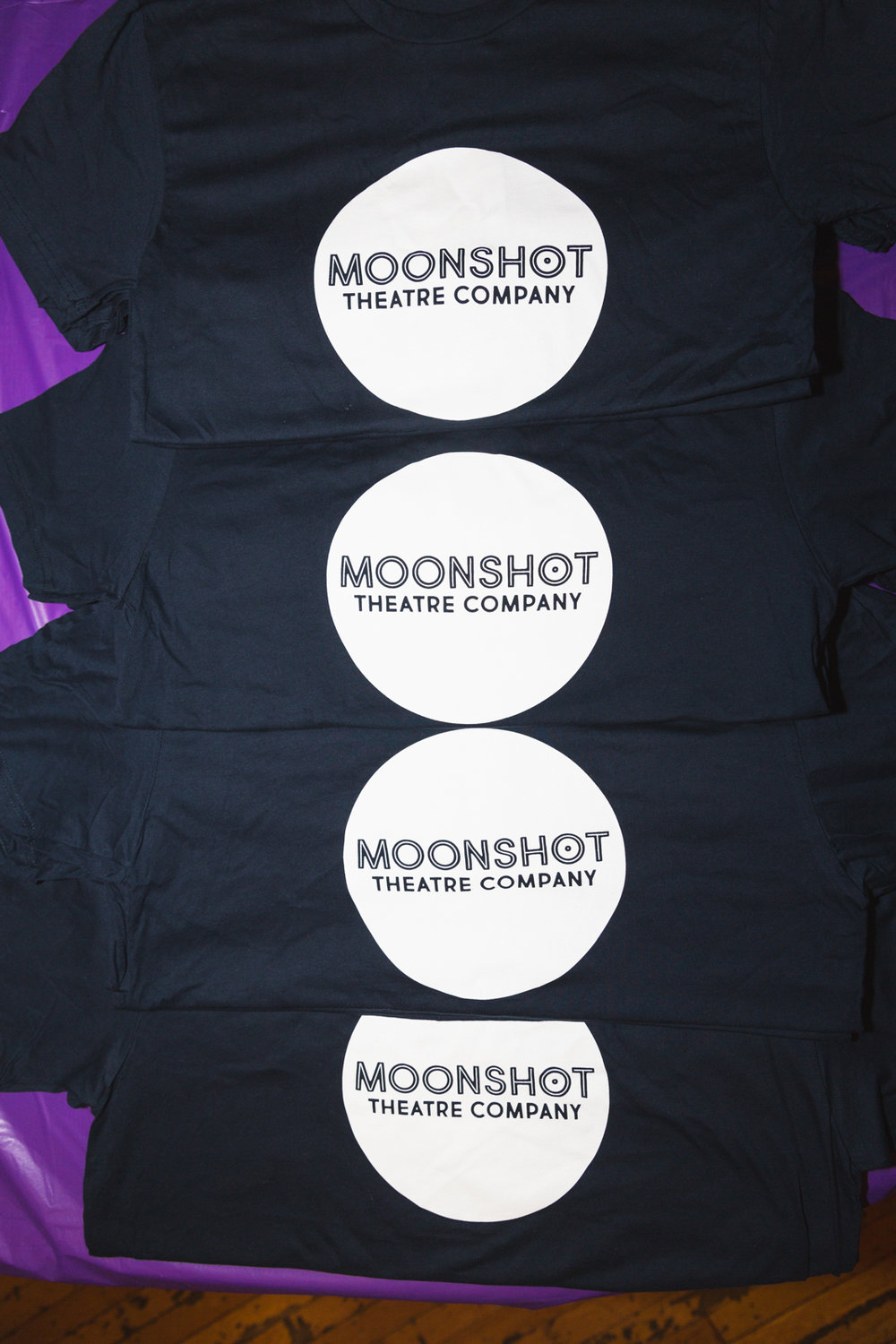 Moonshot Theatre T-Shirts created by The Brooklyn Press. Photo by Travis Emery Hackett.
