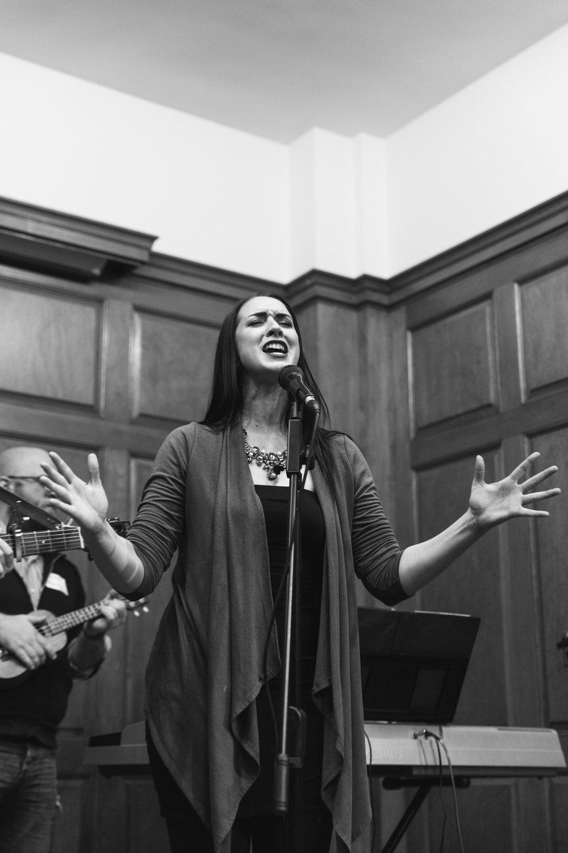 Juliana Wheeler of Thicket & Thistle performing at Moon Jam - January 2018. Photo by Travis Emery Hackett.