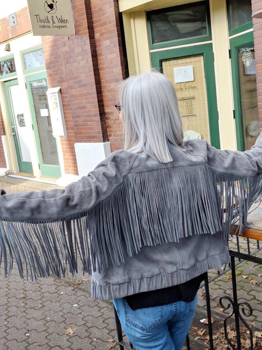 Anine Bing Grey Suede fringe jacket.jpg