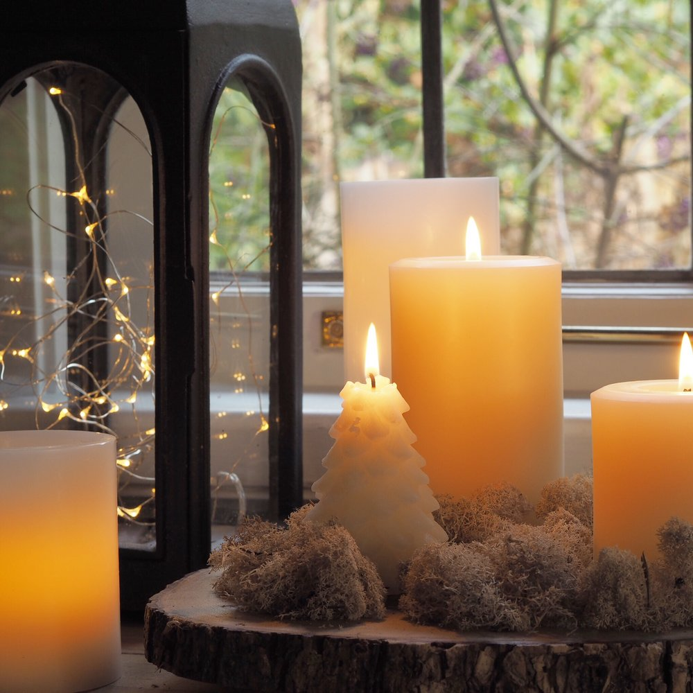 White beeswax candles tablescape