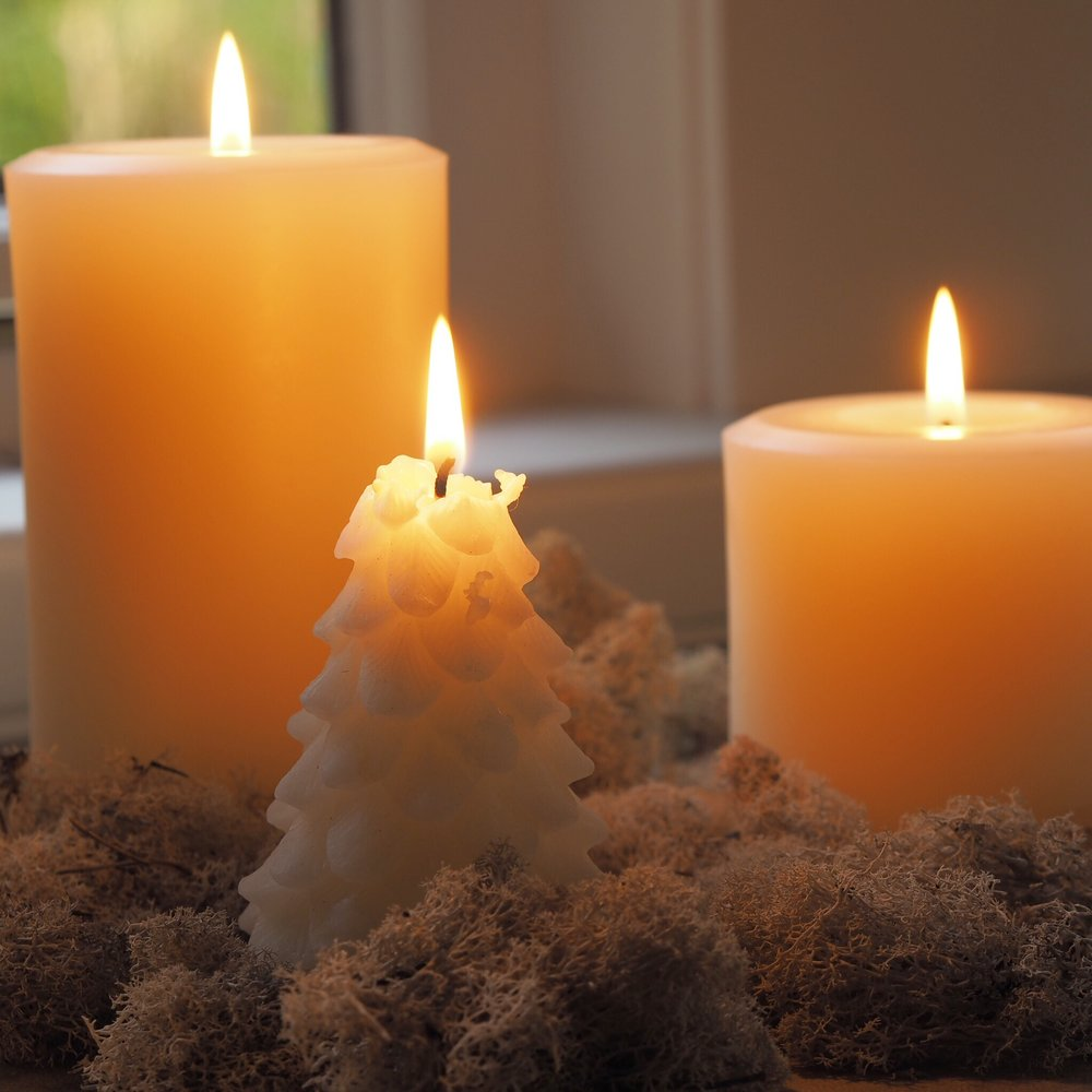 White beeswax candles