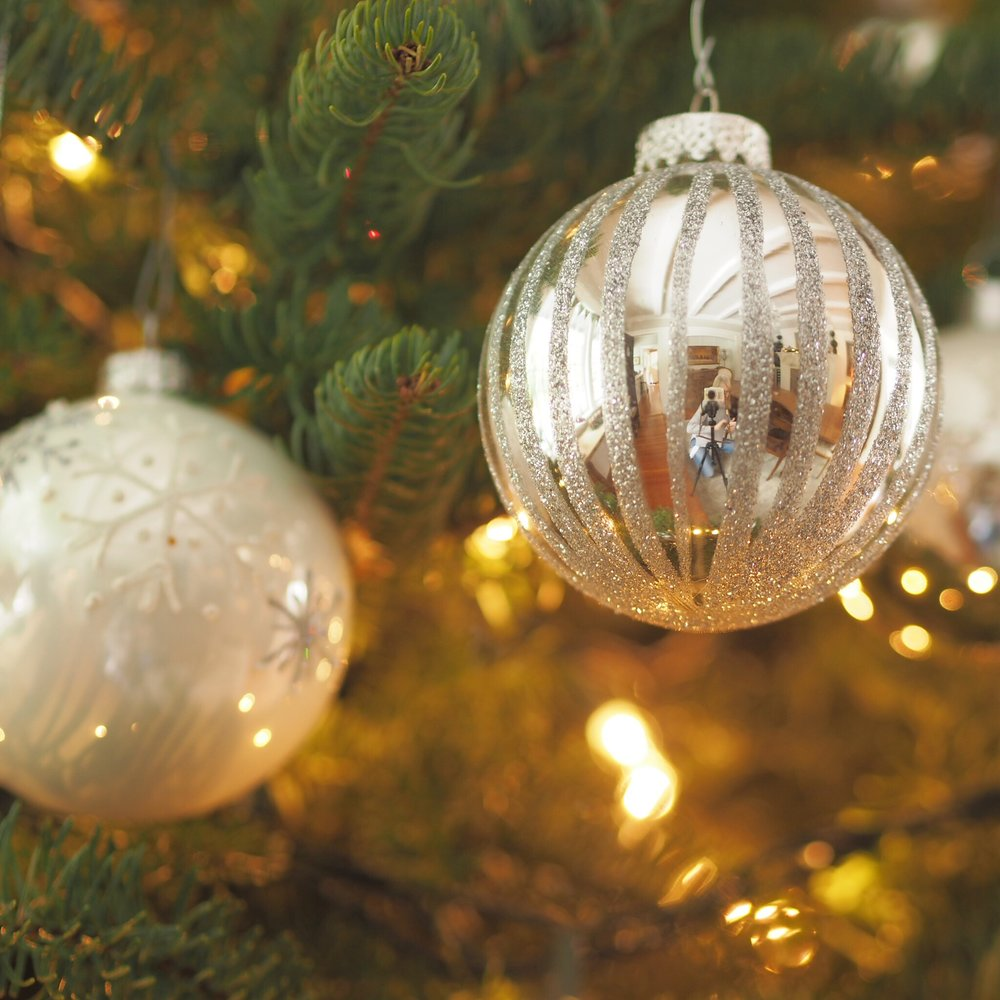 Silver and white Christmas baubles