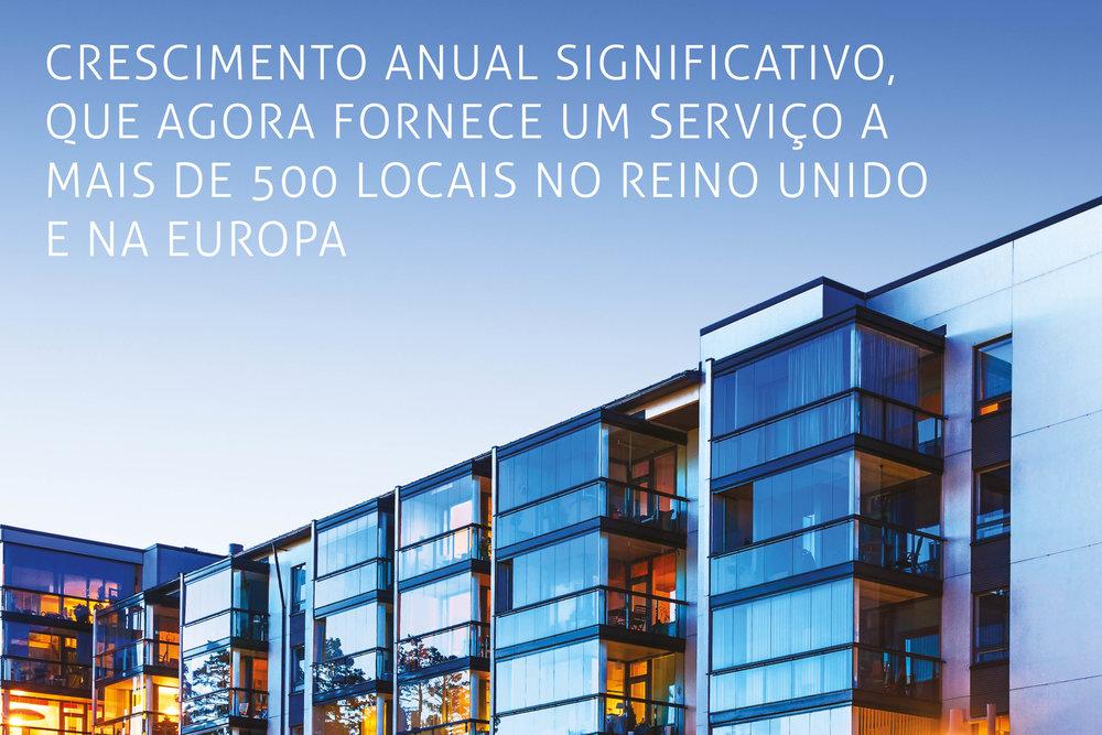 O crescimento anual significativo, que agora fornece um serviço a mais de 500 locais no Reino Unido e na Europa