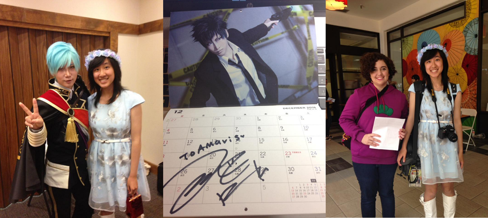Left: Reika and I, picture taken by my friend Kayleigh.  Middle: Reika signed my calendar!!  Right: Kayleigh and I, picture taken by a fellow volunteer.