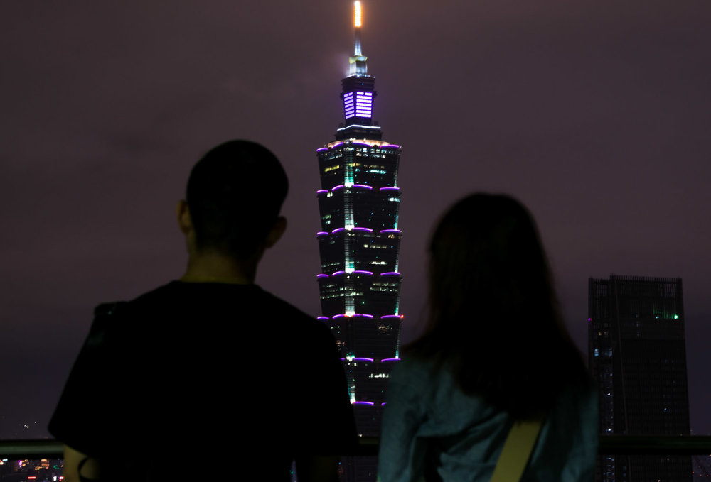 A shot from Elephant Mountain. After I saw this couple framing the tower, I asked them if I could snap a picture!