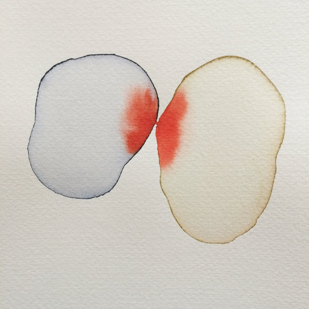 Touch series, watercolour, 14cm x 14cm, 2017.