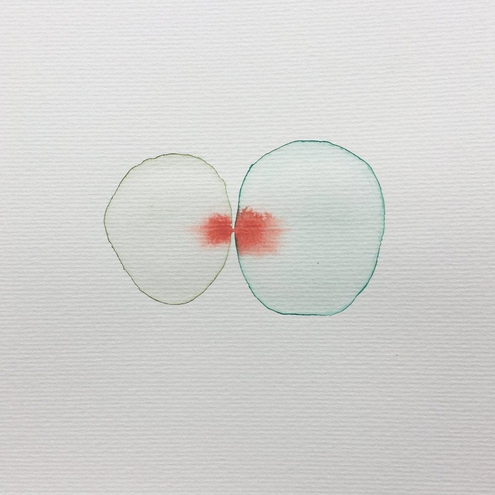 Touch series, watercolour, 20cm x 20cm, 2017.   Private collection