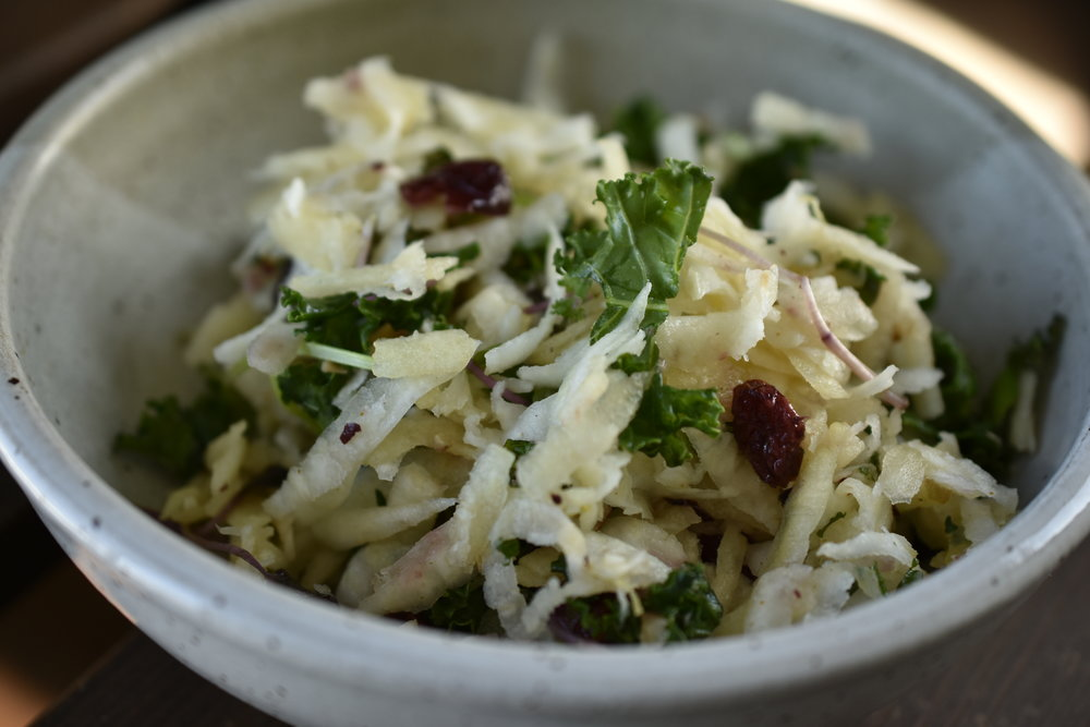 root vegetable slaw featuring tart apples, root vegetables, citrus and basil
