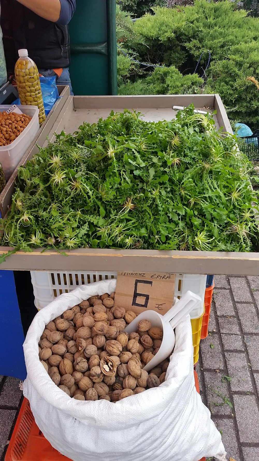 Wild greens and walnuts sold at a roadside in the Peloponnese, Greece