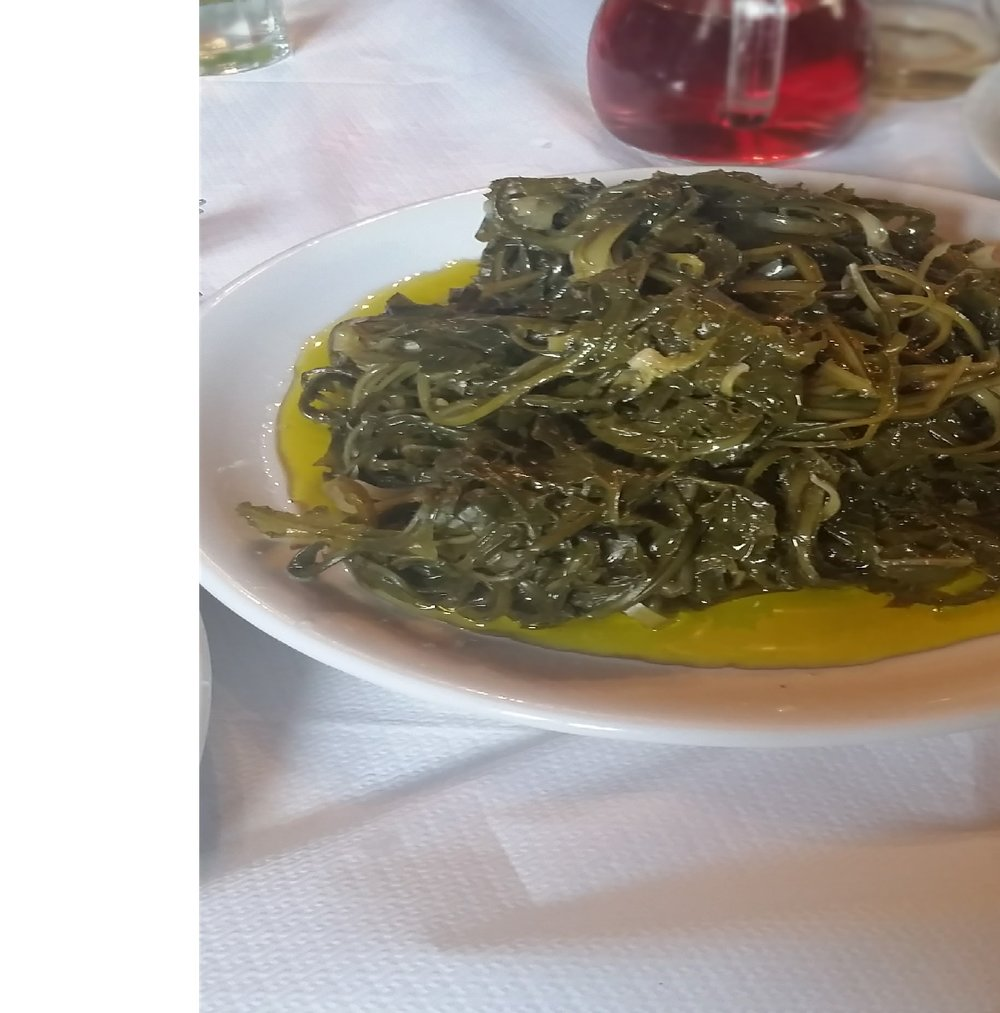 Wild greens with lashings of olive oil, Greece