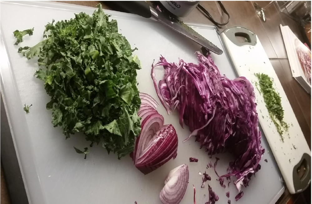 Here I use slivered kale at the end of the recipe as my food-gene insurance policy!