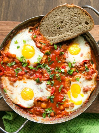 - Shakshuka a popular Mediterranean breakfast dish is made with chickpeas by The Petite Cook.
