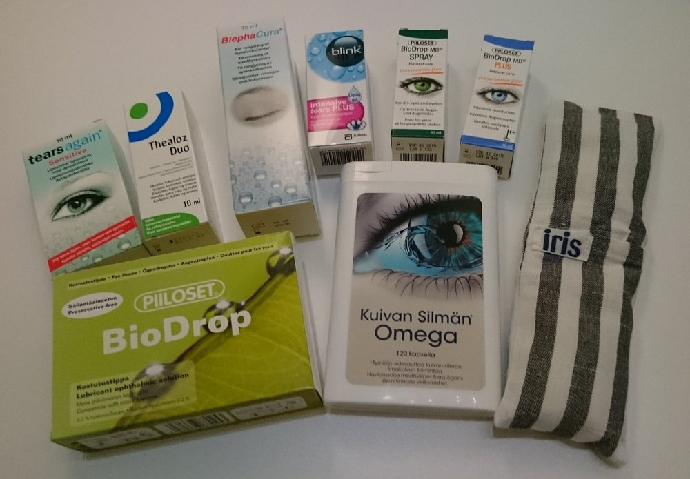 An assortment of products for dry eyes