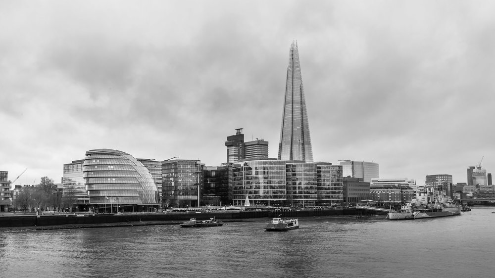The Italian-designed Shard towers above impressive glass offices and unusual City Hall whilst the oddly impassive HMS Belfast sits quietly on the South Bank