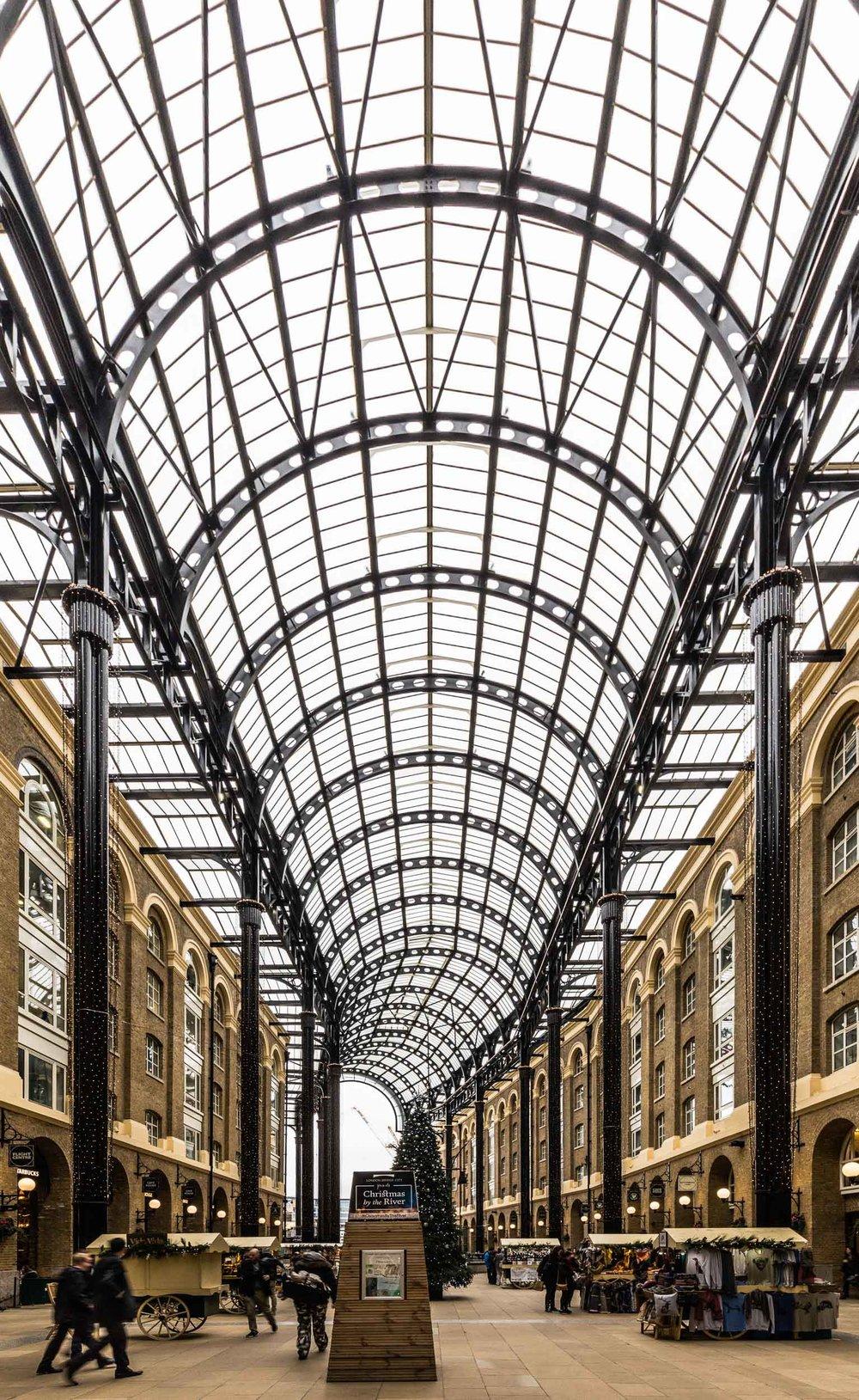 Hay's Galleria with a relatively quiet indoor market