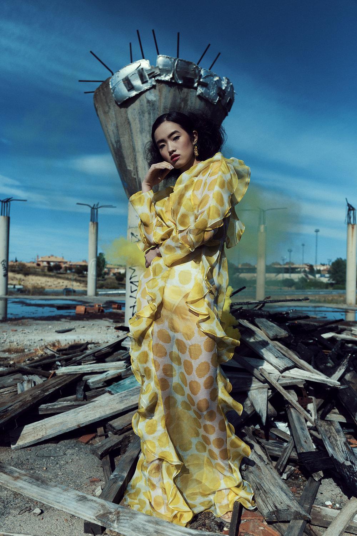 DRESS TRANSPARENT WITH LUNAR BOWLS (Silk Organza) Dres name: Amarant