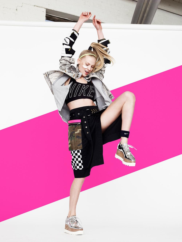 Katie -Jeans skirt by Marc Jacobs @ Nordstrom, $525 -Nike black bra @Nike.com , $45 -Nike nylon short @Nike.com, $28 -Jeans jacket by Marc Jacobs @Nordstrom, $895 -Silver shoe by Stella @Nordstrom, $1,100