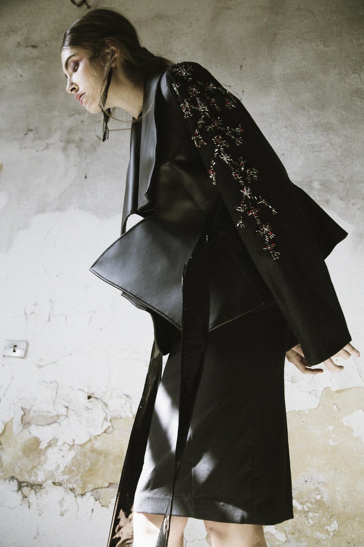 Jessica / Jacket: Simone Battista. Dress: Cristina Trabba. Earrings: H&M.