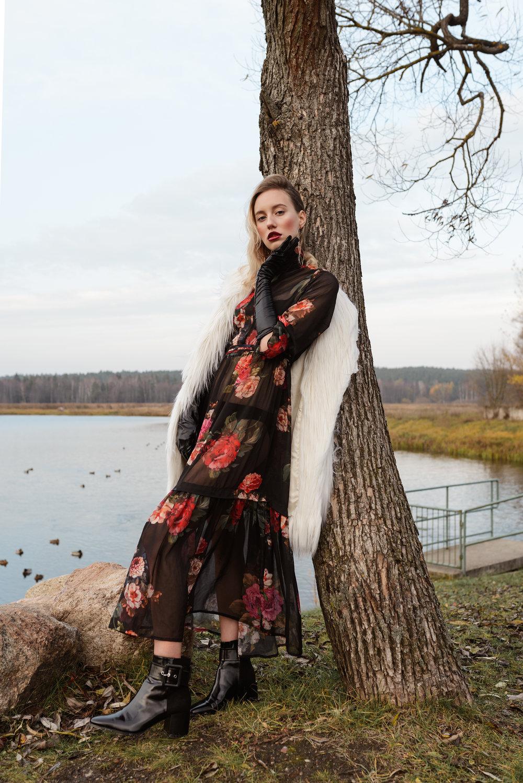 Dress - Anna Purna  Shoes - Zara  Fake Fur - Mango