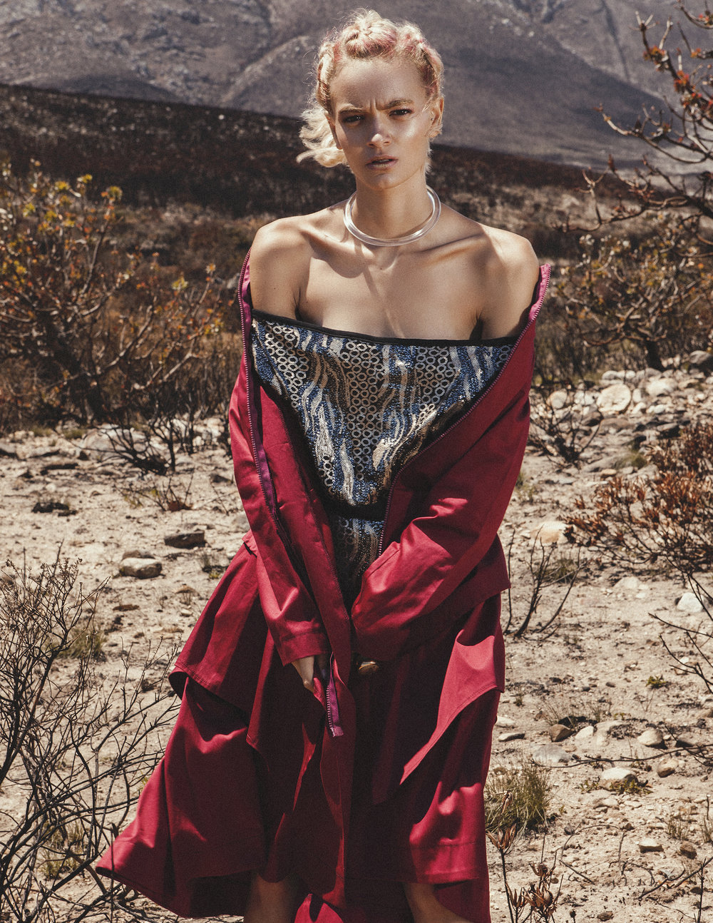 OFF-SHOULDER TOP: Designer Dionne  COAT: Leigh Schubert  NECKPIECE: Philippa Green