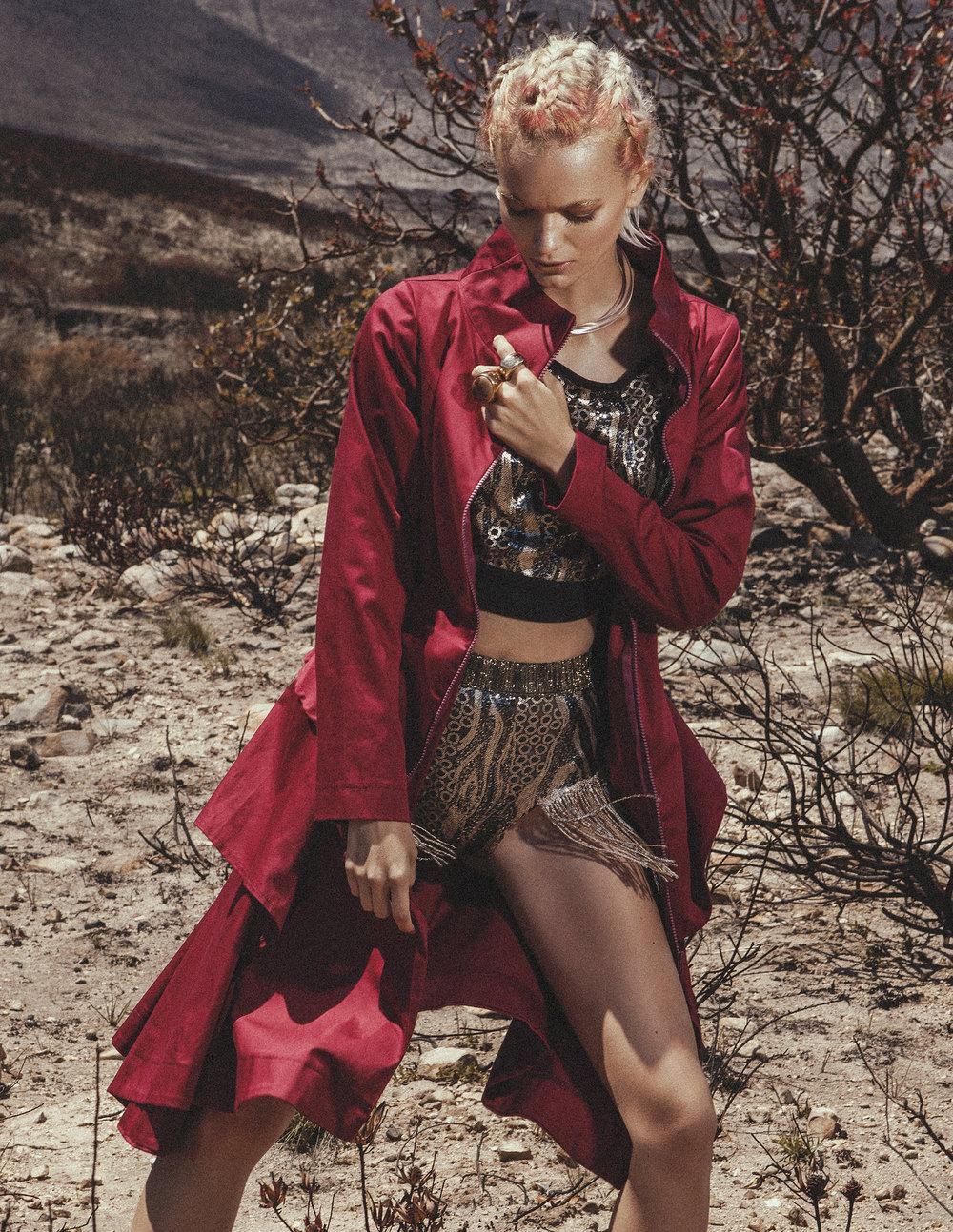 TOP: Designer Dionne  COAT: Leigh Schubert  NECKPIECE: Philippa Green