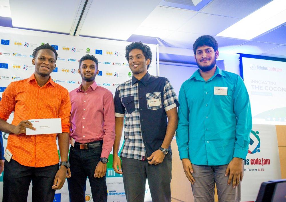 Team CodeCodeNuts, Caleb Beard, Avidesh Bissoon, Daniel Gladstone, Fawwaz Hosein and Daniel Gordon (absent from photo).