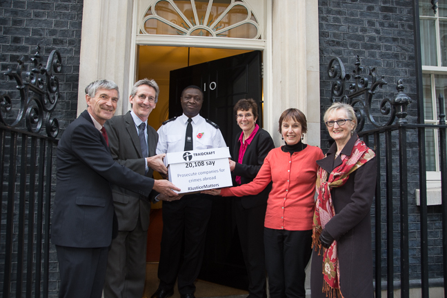 Traidcraft campaigners and staff handing in the Justice Matters petition at 10 Downing Street.