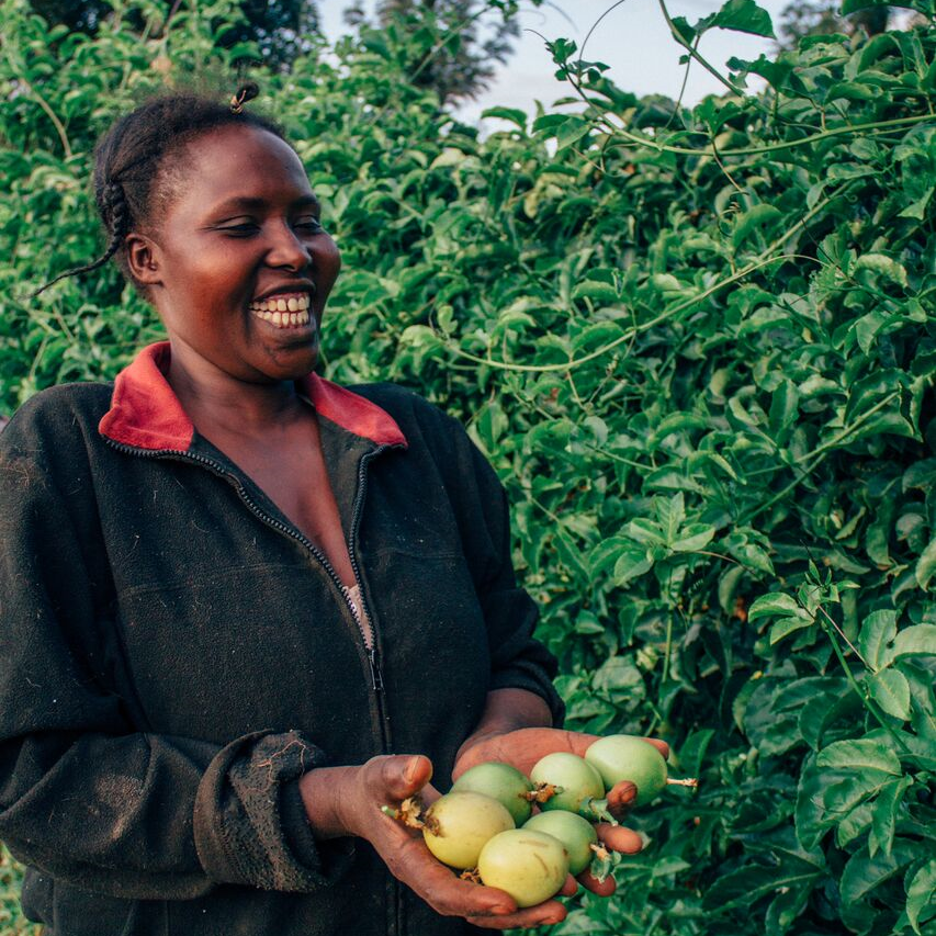 """-                                       """"I love working on this farm because it is where we get our benefits. It is where we get our food and the school fees for our children."""" Eunice"""