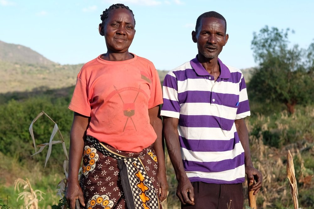 - Husband and wife Patrick and Feata divide the work equally on their farm in Kariari, Eastern Kenya. Credit: Traidcraft Exchange/Nathan Siegal