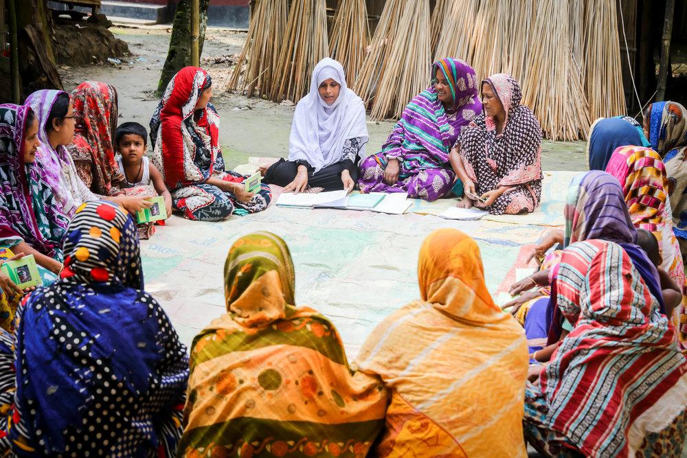 - A women's at their weekly meeting in Faridpur, Bangladesh.Credit: Traidcraft Exchange/GMB Akash