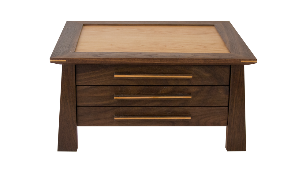 aja jewelry chest - Three velvet-lined drawers. Choose the divider options that best accommodate your space and jewelry needs. 260 square inches of storage space.As shown: Walnut and CherryDimensions: 15W x 13D x 8HPrice: from $459