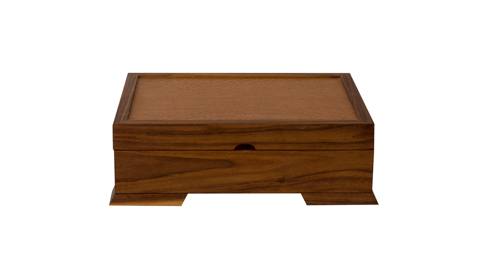 valet jewelry chest - Contains a velvet-lined bottom and a velvet-lined sliding or removable top tray.  The base can be divided to accommodate your space and jewelry needs. 140 square inches (sliding tray), 180 square inches (removable tray) of storage space.As shown: Walnut and LacewoodDimensions: 14W x 10D x 5HPrice: from $299