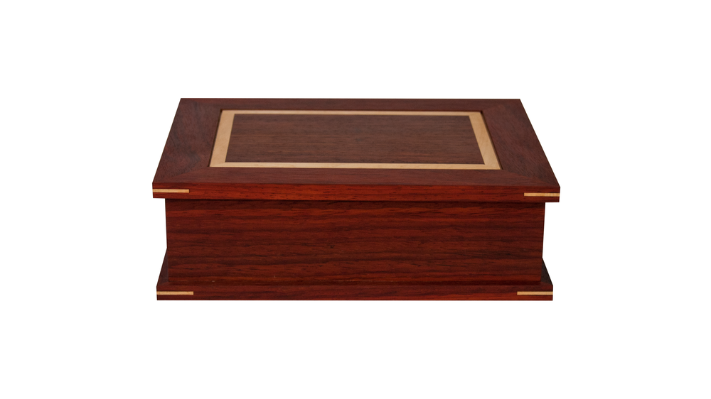 watch box KB - A velvet-lined base accommodates a single watch divider option.Operating lid. Can house 4, 6 or 8 watches.As shown: Padauk and Curly MapleDimensions: 14W x 11D x 3HPrice: $299