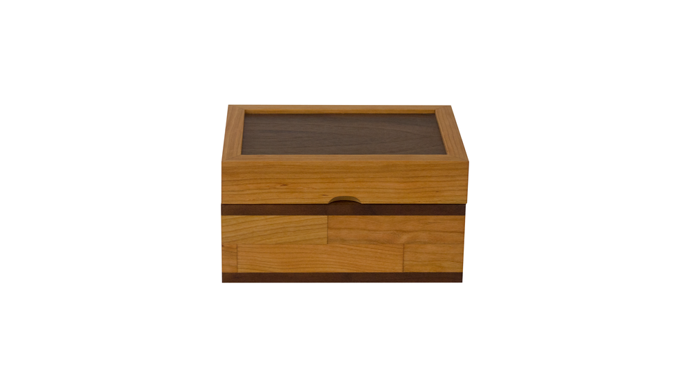 scrap box - Not customizable but is available in 7 combinations of primary and accent woods.As shown: Cherry and WalnutDimensions: 8W x 6D x 5HPrice: $99