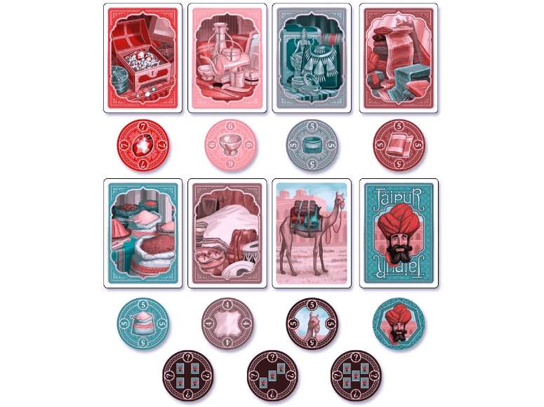 The actual colours of the goods cards are (top row) red, gold, silver, purple, (bottom row) green, brown. This filter simulates tritnopia, or 'blue-yellow blindness'.