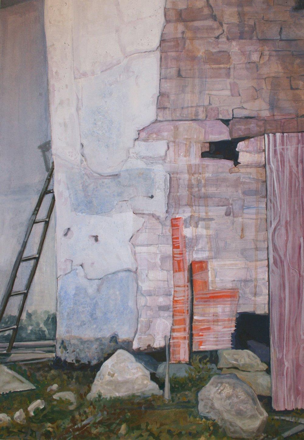 """Broken Down Building, Ballycastle   Watercolor/gouache, 20x24"""", 2013"""