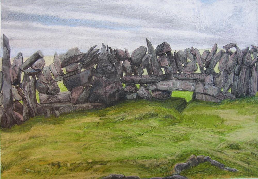 "Burren Stone Wall   Pastel, 14x20"", 2013"