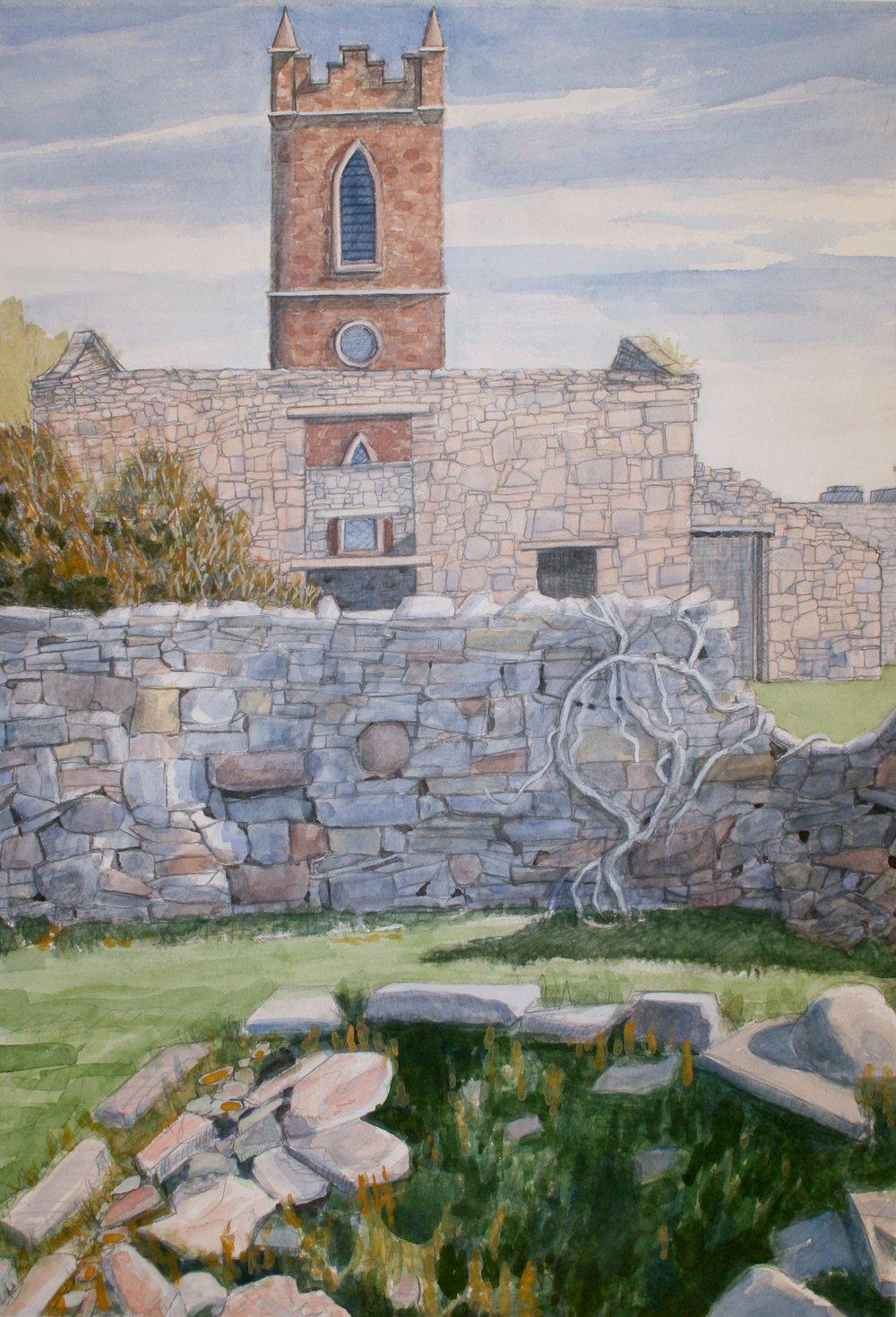 "Church Next Door, Ballycastle   Watercolor/pencil, 20x14"", 2013"