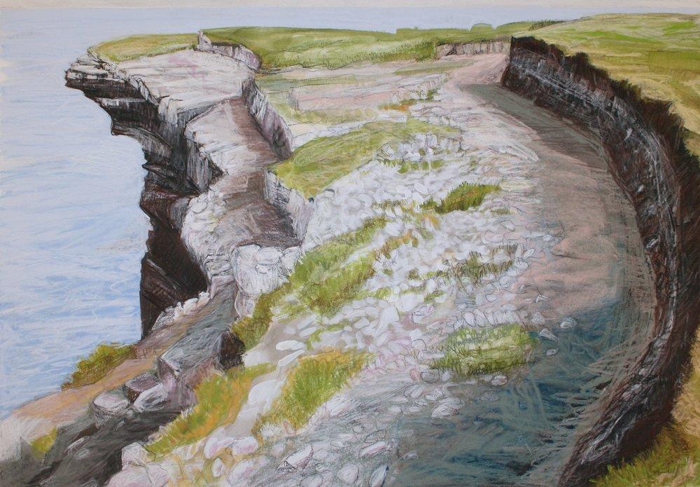 "Cliffs Edge, Mayo   Gouache/pastel, 14x20"", 2013"